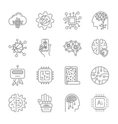 simple set of artificial intelligence related vector image