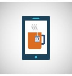 Smartphone digital with tea cup hot design vector