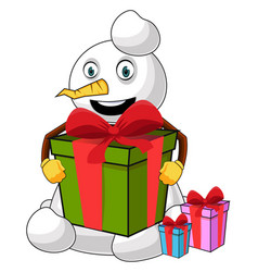 snowman with big present on white background vector image