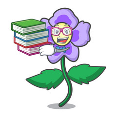 Student with book pansy flower mascot cartoon vector