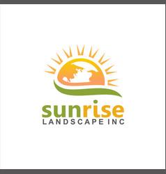 sunrise landscape logo design idea vector image