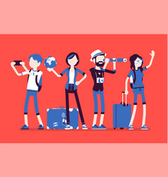 Travelers group with luggage vector