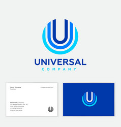 u monogram universal logo culti color geometric vector image