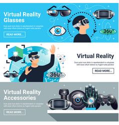 Virtual reality banner set vector