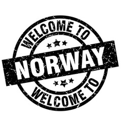 Welcome to norway black stamp vector