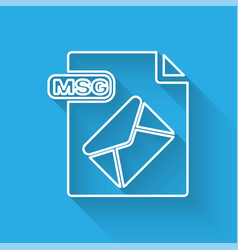 White line msg file document download msg button vector