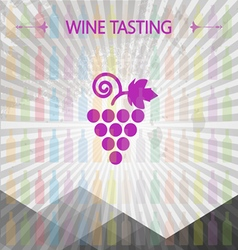Wine tasting card big grape sign vector