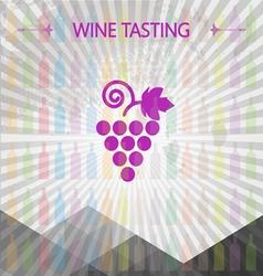 Wine tasting card big grape sign vector image