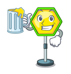 with juice road traffic sign on the cartoon vector image