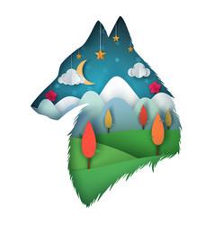 wolf cartoon paper landscape vector image