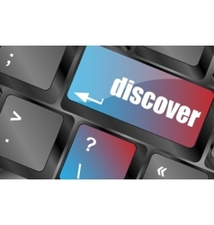 Word discover on computer keyboard keys keyboard vector
