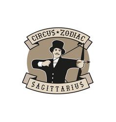 Zodiac circus emblem sagittarius archer shooting vector