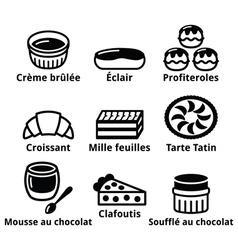 French dessert pastry and cakes icons - creme bru vector image vector image