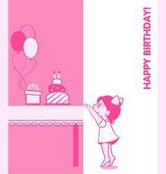 Little girl birthday card vector image