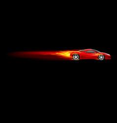 red sport car burnout design on black vector image vector image