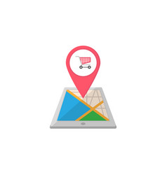 shopping cart map pointer flat icon mobile gps vector image