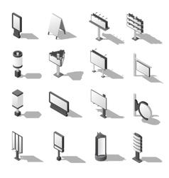 Street Advertising Isometric Icons Set vector image