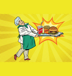 the chef brings a tray of fast food vector image vector image