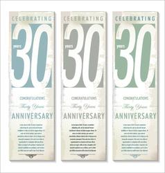 30 years Anniversary retro banner set vector image vector image