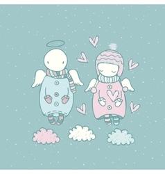 Cartoon angels in the sky vector image