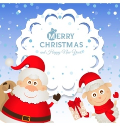 Christmas greeting card with Santa Claus and a vector image vector image