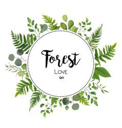 Floral invite card design with green eucalyptus vector