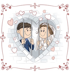 Just Married Couple in Jail Cartoon vector image vector image