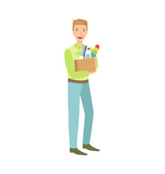 man with box full of household chemistry product vector image