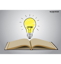 Opened book with light bulb vector image vector image