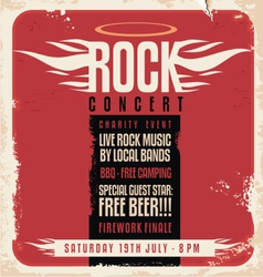 Rock concert retro poster design vector image