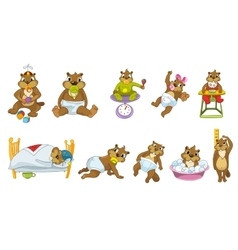 set of cute baby beavers vector image vector image