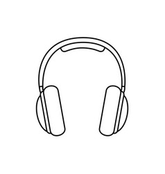 silhouette music headphones icon flat vector image vector image