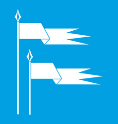 Ancient battle flags icon white vector