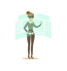 Businesswoman wearing vr headset working in vector