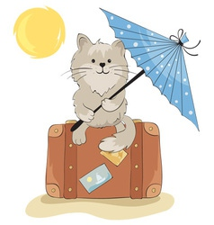 Cat in the vacation vector image vector image