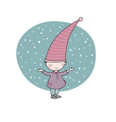 cute little gnome elf and snow isolated objects vector image vector image