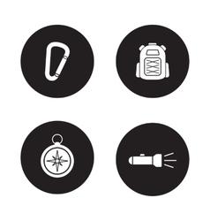 Hiking equipment black icons set vector