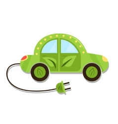 llustration green electric car with plug electric vector image vector image