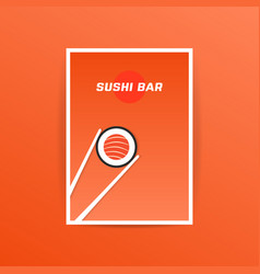 orange sushi bar card with chopstick vector image