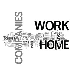 work at home companies text word cloud concept vector image