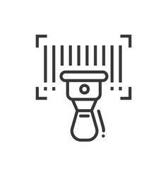 barcode scanner - line design single isolated icon vector image vector image