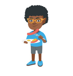 Boy eating sausage and fried egg for breakfast vector