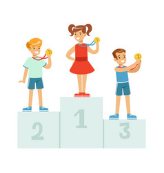 children standing on the winner podium with medals vector image