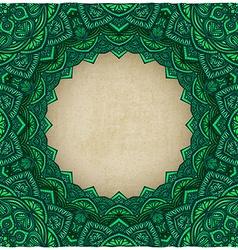 green frame floral ornament old background vector image vector image