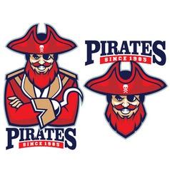 half body pirate mascot vector image vector image