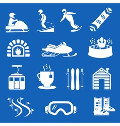 Mountain winter resort and sport hotel icons ski vector