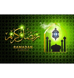 religious green color eid background design with vector image vector image
