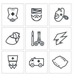 Set of hospital icons drip patient mask vector