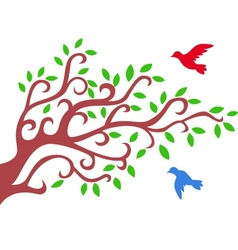 Tree silhouette with bird vector image