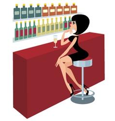 young woman sits at a bar counter vector image